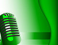 Music background with microphone on green Royalty Free Stock Photography