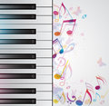 Music background with piano vector and notes Royalty Free Stock Images