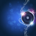 Music background sound speaker with bokeh lights and water waves Royalty Free Stock Photos