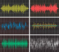 Music backgrounds of audio sound waves pulse. vector