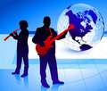 Music Band with Globe Background Stock Photos