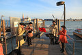 Music band on pier in Venice. Royalty Free Stock Photography