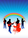 Music band on rainbow internet background Royalty Free Stock Images