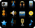 Music black icon set Royalty Free Stock Image