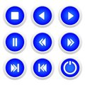 Music blue buttons set Royalty Free Stock Photo