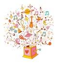 Music box cartoon illustration