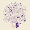 Music box - musical burst of creativity and fun cartoon illustration