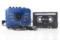 Music cassette and walkman old fashioned player with earphones Royalty Free Stock Image