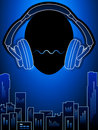Music city in blue mood Royalty Free Stock Photo