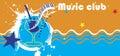 Music club banner.Abstract sea motive.Piano bar Royalty Free Stock Photo