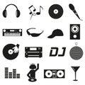 Music club dj black simple icons set eps Royalty Free Stock Photos