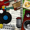 Music colage abstract design collage art illustration Royalty Free Stock Images