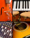 Music collage with instruments and sound board musical guitar cello organ conga drums Royalty Free Stock Image