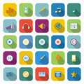 Music color icons with long shadow on white background Stock Photo