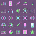 Music color icons on violet background stock vector Royalty Free Stock Image