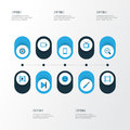 Music Colorful Icons Set. Collection Of Finish, Film, Movie And Other Elements. Also Includes Symbols Such As Smartphone