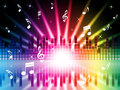 Music colors background shows instruments songs and frequencies showing Stock Image