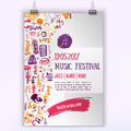 Music concert vector poster template. Can be used for printable promotion with lettering and doodle items.