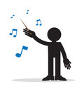 Music conductor with musical notes Stock Photography