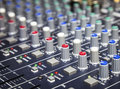Music control buttons studio music mixer equipment close up Royalty Free Stock Photo