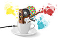 Music cup illustration of white with audio device Royalty Free Stock Image