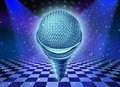 Music and dance entertainment concept as a microphone over a dancing disco club floor with as a symbol of fun party time in a Stock Photo