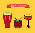 Music design over yellow background vector illustration Royalty Free Stock Photo