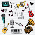 Music doddle doodle icons over white background vector illustration Royalty Free Stock Image