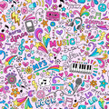 Music Doodles Groovy Seamless Pattern Background Royalty Free Stock Photo