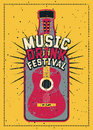 Music and Drink Festival typographic grunge poster design with guitar and bottle. Retro vector illustration. Royalty Free Stock Photo