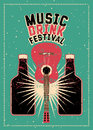 Music and Drink Festival typographic grunge poster design with guitar and bottles. Retro vector illustration. Royalty Free Stock Photo