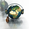 Music earth with headphones Royalty Free Stock Photography