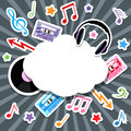 Music elements with speech bubble Royalty Free Stock Photo