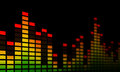 Music equalizer bars close up of electronic representing beat or sound on a black background Stock Images
