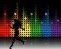 Music equalizer and running girl Royalty Free Stock Photo