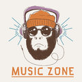Music fan hipster monkey