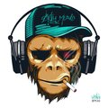 Music fan hipster monkey with headphones and cigarette. DJ chimp Royalty Free Stock Photo