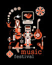 Music festival abstract vector illustration on black background artwork placard with text Royalty Free Stock Image