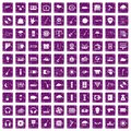 100 music festival icons set grunge purple Royalty Free Stock Photo