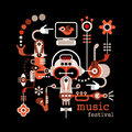 Music festival isolated vector illustration on black background artwork placard with text Stock Image