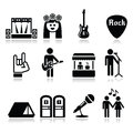 Music festival, live concert  icons set Royalty Free Stock Photo