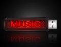 Music files concept illustration depicting a usb flash drive with a Royalty Free Stock Photography