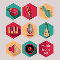 Music flat icons set Stock Photography