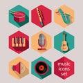Music flat icons set Stock Photography