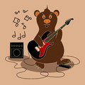 Music flyer or background with bear playing the guitar and singing Royalty Free Stock Photography