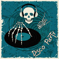 Music flyer or background with dj skull and vinyl disc Stock Image
