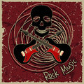 Music flyer or background with skull and guitars text rock Royalty Free Stock Photos