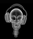 Music forever human skull in headphones isolated on a black background with xray effect Stock Image