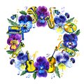Music frame with summer and spring pansy flowers, notes. Hand drawn watercolor illustration.