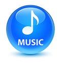 Music glassy cyan blue round button